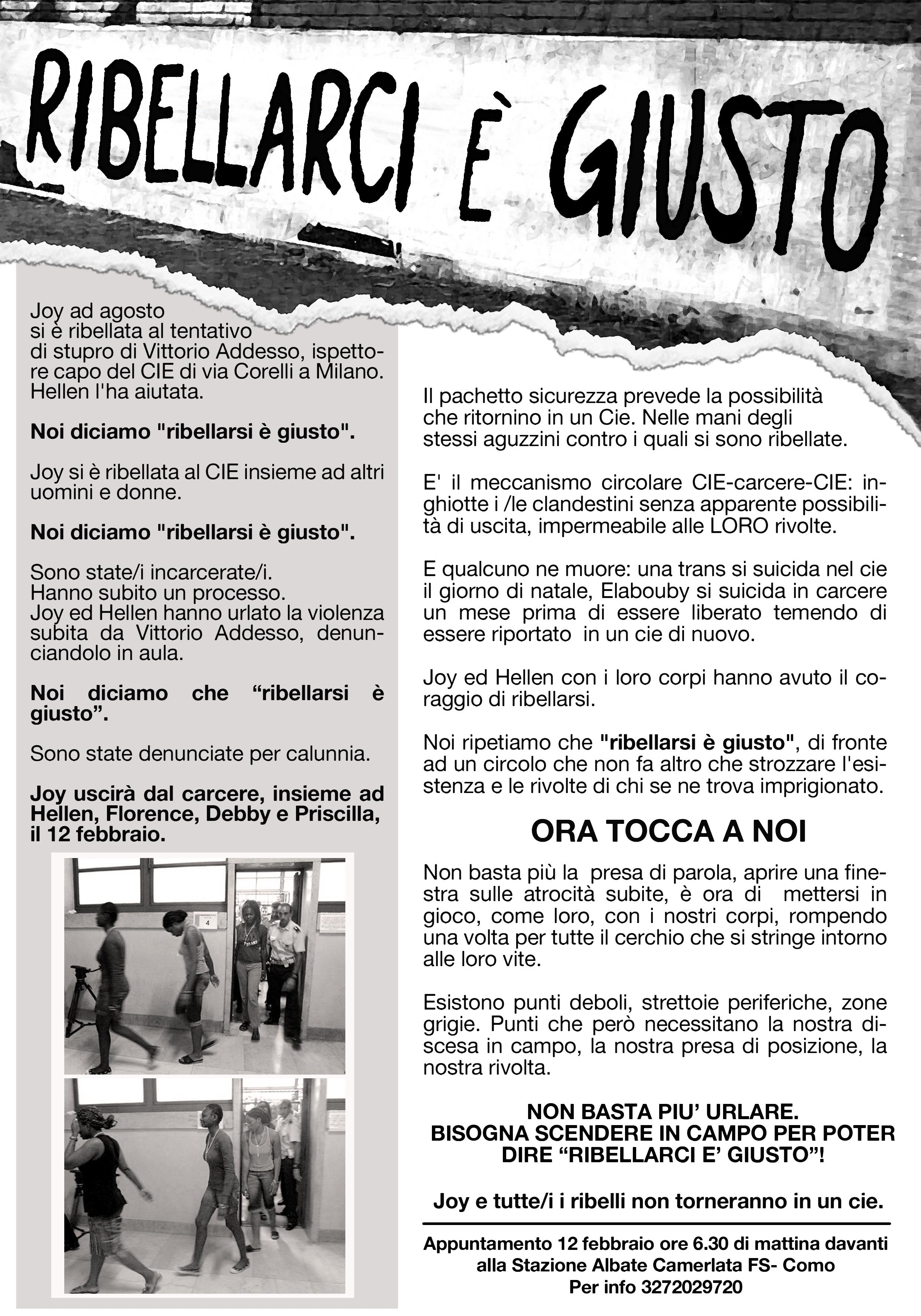 manifesto - noi non siamo complici- appuntamento venerdì 12 febbraio ore 6,30 stazione Albate Camerlata - COMO